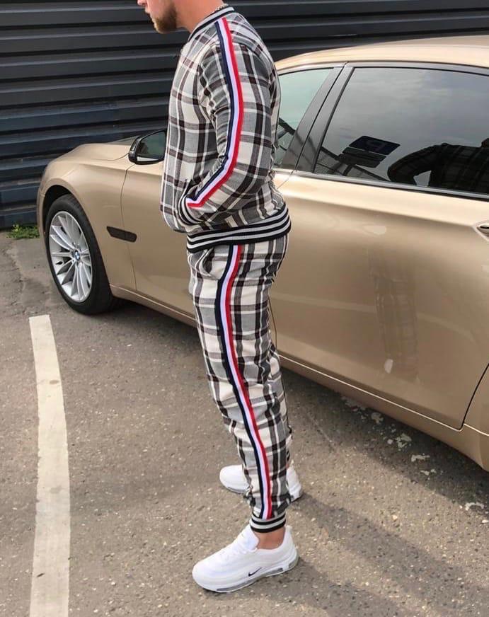 Мужской спортивный костюм из джентльменов серая клетка