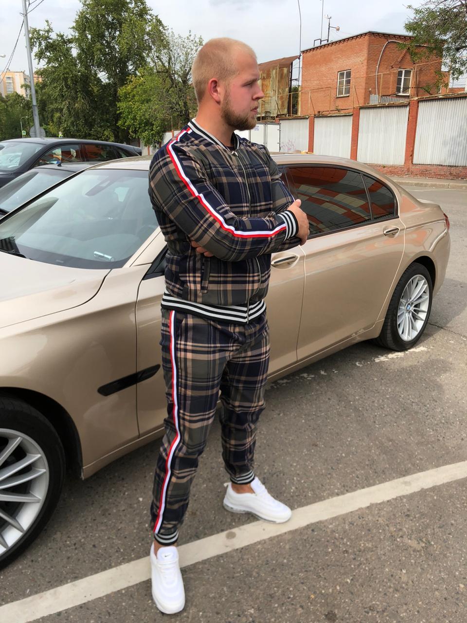 спортивный костюм с шотландской клеткой