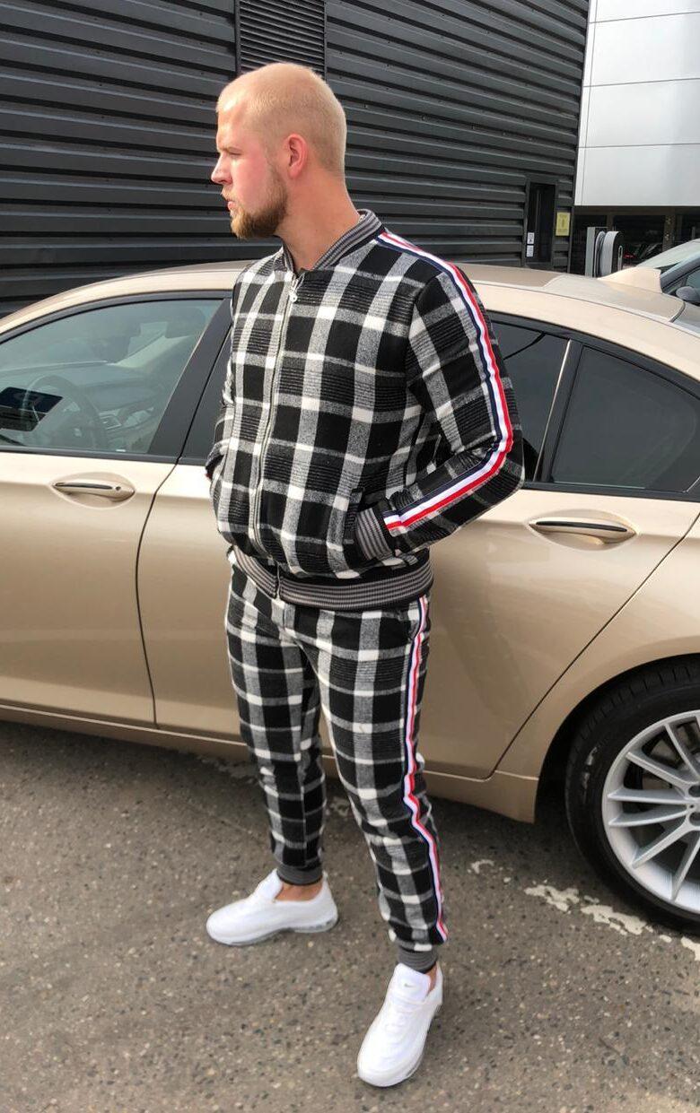 Мужской спортивный костюм из джентльменов черно-серый