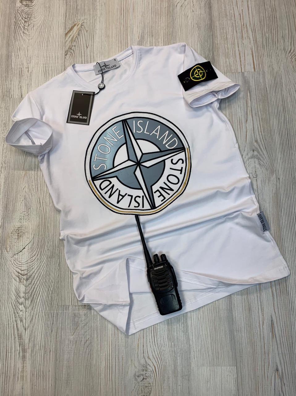 Белая футболка с патчем Стон айленд